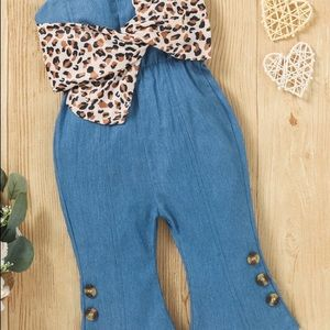 🐆New Overalls Jumpsuit Leopard Bow 3T🐆